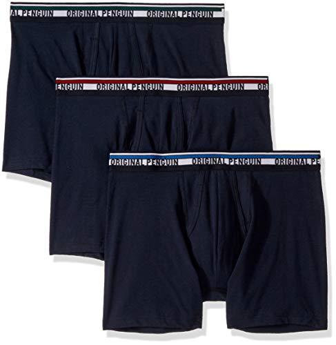Original Penguin Men's Cotton Boxer Brief Underwear, Multipack, Sky Captain Blue, L