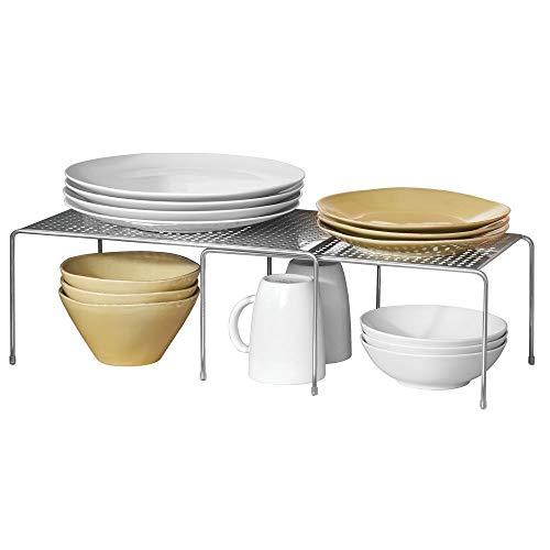 mDesign Regaleinsatz für Küchenschrank - praktische Geschirrablage für mehr Abstellfläche - Schrankeinsatz zum Ausziehen - silberfarben