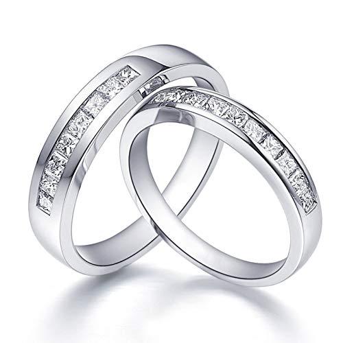 ANAZOZ 2 Stücke Trauringe/Eheringe Pt950 Platin Bandring Rund mit Quadratischem Diamant 0,67 ct Eheringe Partnerringe Verlobungsringe Hochzeitsringe Damenring 60 (19.1) & Herrenring 58 (18.5)