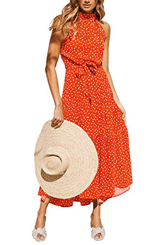 Eledobby Vestidos Largos con Cuello Halter para Mujer Polka Dot/Estampado Floral Vestido con Cinturón Sin Mangas Boho Vestido De Verano Casual Primavera Verano Ropa Rojo XL