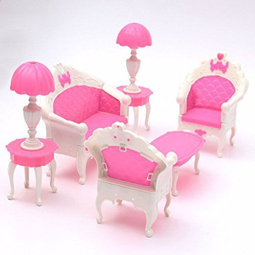 6pcs Cute Dollhouse for Barbie Doll Furniture Playset Living Room Parlour Sofa by preeya_nuch