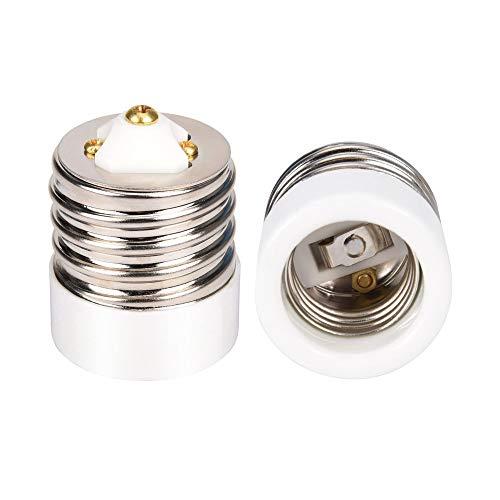 UL-Listed E39 to E26 Adapter JACKYLED Mogul to Medium Light Bulb Lamp Socket Porcelain Converter 2-Pack