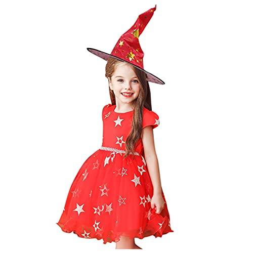 Dasongff Robe Princesse Enfant Fille Déguisement Sorcière Costume Carnaval Halloween Robe Courte & Chapeau de Sorcière Étoiles Paillettes Halloween Costume Fête