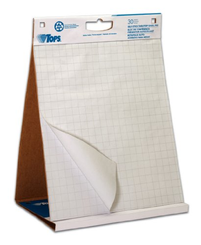 TOPS Easel Pad with Tabletop Easel, 30 Self Stick Sheets, White, 22 x 23 Inches (79250)