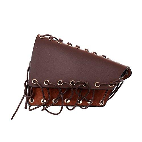 MagiDeal Arco de piel de vaca tradicional con cordones para caza, color marrón