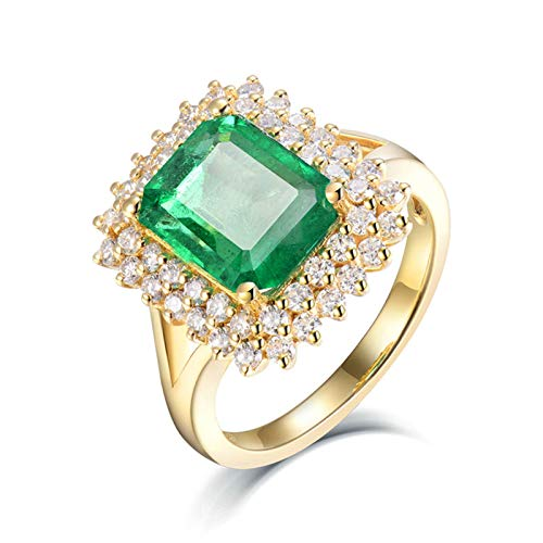 AmDxD Wedding Ring for Women 18K Gold, Valentine Rings for Party Halo Ring 2.5ct Emerald with 0.72ct Diamond, Yellow Gold Size U 1/2, Graduation Gift
