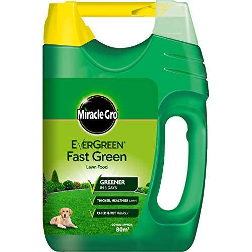 Miracle-Gro 15023 EverGreen Fast Green Lawn Food, Spreader, 80 sq m Coverage (Child and Pet Friendly), Green