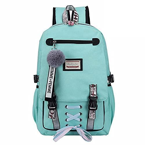 LGXXYF Suministros Escolares Mochila portátil Backpack Bookbag Combo Set, College Rucksack Multiusos Multiusos Business Casual Daypack for Estudiantes (Color : Green, Size : 30x49x15cm)