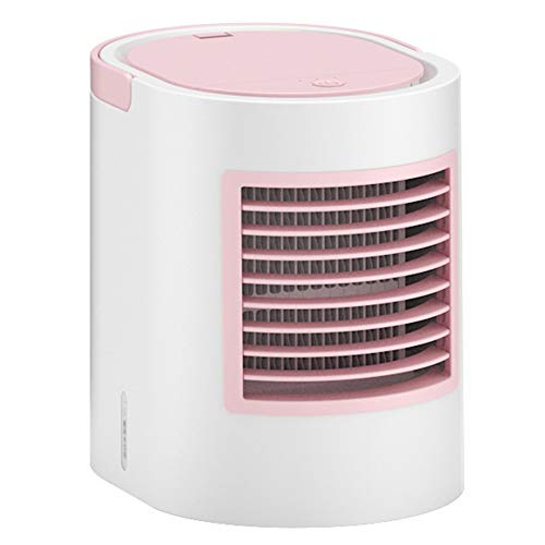 Mini Refrigerador Aire Nuevo USB,Velocidad Fraguado 3 Ventiladores Portátiles,Con USB Agua Refrigeración Aire Acondicionado Ventilador,Acondicionador 7 Colores Para Oficina De Escritorio,Rosado