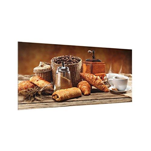 Bilderwelten Paraschizzi in Vetro - Breakfast Table - Orizzontale 1:2,Paraschizzi Cucina Pannello paraschizzi Cucina paraspruzzi per Piano Cottura Pannello per Parete, Misura (AxL): 40cm x 80cm