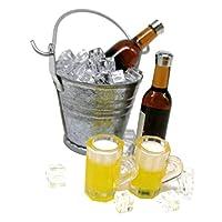 SM SunniMix 飲み物のおもちゃ ミニチュア ワインボトル カップ 氷のかたまり アイスバケット ふり遊び 6点入り - 褐色