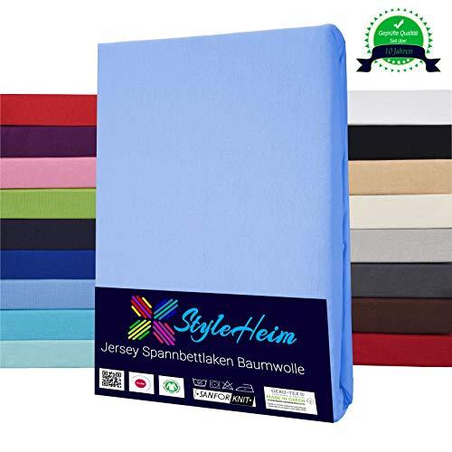 Styleheim Jersey Spannbettlaken 100% Baumwolle Spannbetttuch Öko-Tex bis 30 cm Matratzenhöhe 90 x 200-100 x 200 cm Hellblau