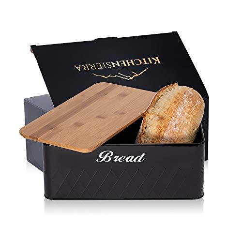 Bread Box for Kitchen Countertop- Black Metal...