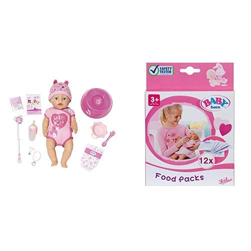 """Zapf Creation 824368\"""" Baby Born Soft Touch Girl Blue Eyes Puppe, bunt &  779170 - Baby born Nahrung, 12 Beutel"""