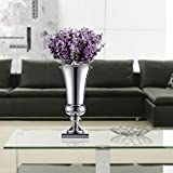 KingSaid 40cm Silver Iron Table Flower Vase for Wedding Party Home Table Décor Silver