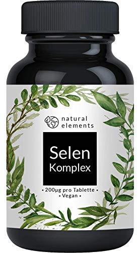 Selen Komplex - 365 Tabletten mit je 200µg - Vergleichssieger 2020* - Premium: Komplex aus Natriumselenit und Selenmethionin - Hochdosiert, ohne Magnesiumstearat, vegan