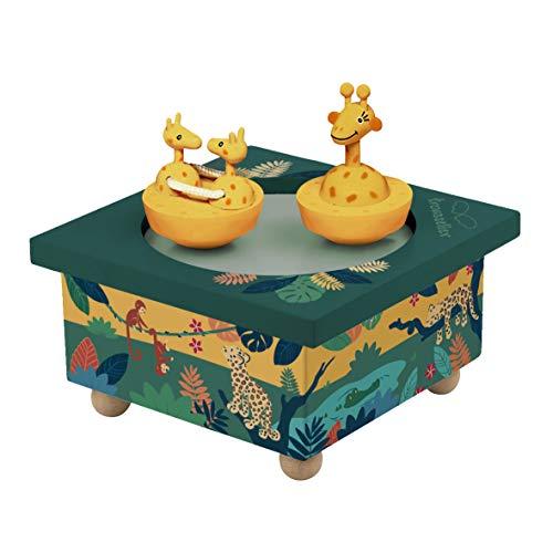 TROUSSELIER - Savane - Boîte à Musique Dancing - 2 Figurines Amovibles - Fonctionnement Simple - Musique Invitation to the Dance - Colori Vert