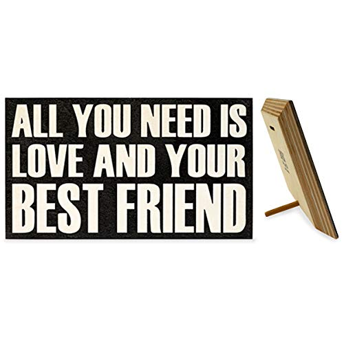 JennyGems Wooden Sign - All You Need is Love and Your Best Friend, Friendship Sign - Gift for Best Friends, Bestfriends - Shelf Knick Knacks - Gallentines Gift for Best Friend