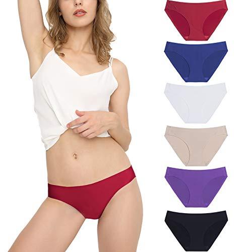 Mutande da Donna Slip a Vita Bassa Invisibile Senza Cuciture Mutande Femminili Elastico Briefs Semplice e Confortevole, Pacco da 6 Multicolore M