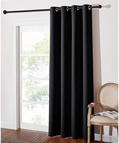 Home Trend Paris - Cortina opaca y aislante (1 panel de ventana con ojales, 140 x 260 cm), color negro