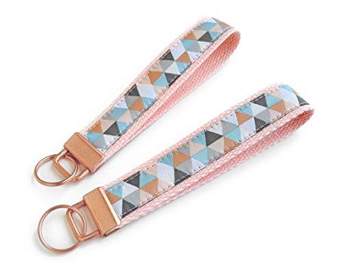 1 x Schlüsselanhänger mit geometrischem Muster   Farbe: Roségold-Kupfer-Blau   Baumwolle & Jacquardborte   Maße: 15 x 3 cm
