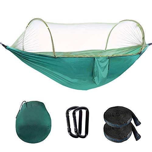 OOKU - Camping Hammock with Mosquito Net for 2 Person 440 lbs | Ultralight Travel Hammock with Bug Net, 2 Hanging Straps | Portable Double Hammock Swing for Outdoor, Hiking, Backyard, Tree
