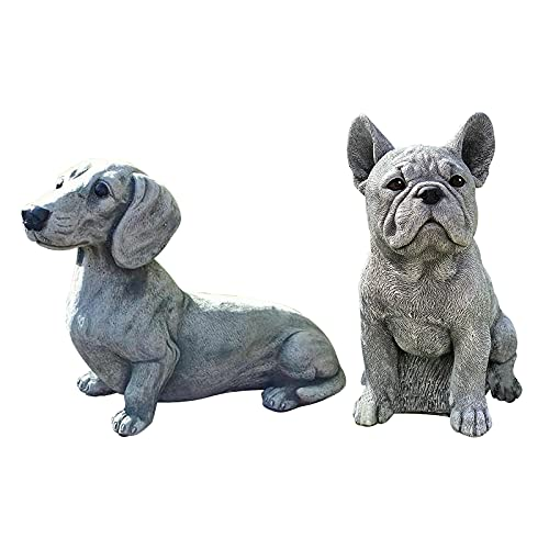 2PC French Bulldog and Dachshund Statue Garden Decor Art Work, DIY Resin Outdoor Yard Sculpture Home Decoration Garden Ornaments, Gift for Dog Lovers