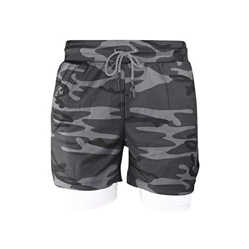 Loalirando Shorts de Sport Homme Doublé avec Poche pour Téléphone Portable Costume Fitness Gym à Séchage Rapide,Camouflage Noir,L