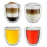 Creano Conjunto de 4 Vidrios Térmico XXL de Doble Pared 'Bellied', Gran Vidrio Borosilicato Resistente al Calor, Vidrio para Café y Té | 400ml