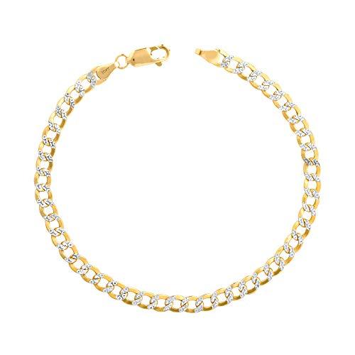 Nuragold 10k Yellow Gold 4.5mm Cuban Chain Curb Link Diamond Cut Pave Two Tone Bracelet, Mens Womens Lobster Lock 7' 7.5' 8' 8.5' 9'