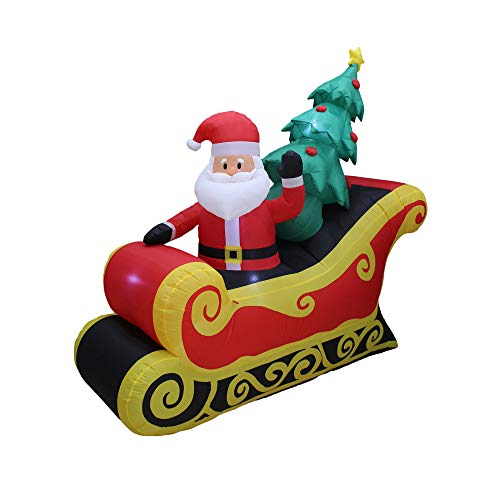 A Holiday Company Heavy Duty 7 Foot Wide Weather Resistant Self Inflatable Blow Up Santa on Sleigh Holiday Christmas Lawn Decoration with LED Lights for Indoor or Outdoor Decor