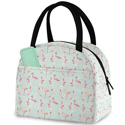 Wiederverwendbare Lunch-Tasche mit Flamingo-Feder-Muster, mit Fronttasche, Reißverschluss, isolierte Thermo-Kühltasche für Männer, Frauen, Arbeit, Picknick, Reisen, Strand, Angeln