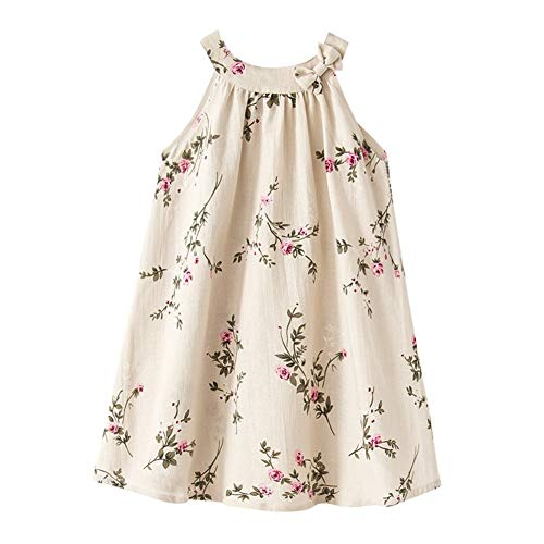 Toddler Baby Girl Linen Casual Dress Cosy Summer Floral Tank Top Camisole Vest Shift Shirt Dress