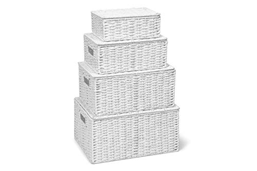 ARPAN Nuovo Bianco Set di Corda 4 di conservazione della Carta Hamper Cesto con Coperchio - Compreso XLarge, Grande, Medio, Piccolo