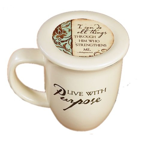 Abbey Press (Abbey & CA Gift) Live with Purpose Mug and Coaster Set, 4 by 4.38, White