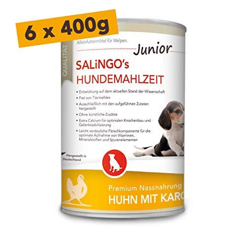 SALiNGO Hundefutter für Welpen, nass, Huhn mit Karotte und Calcium (6x400g)