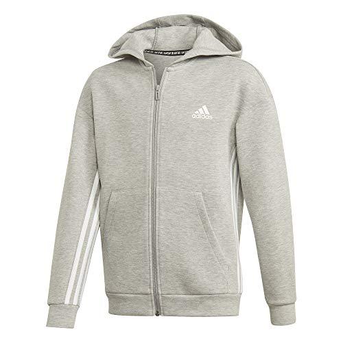 adidas Yb Mh 3s FZ Sudadera, Niños, Medium Grey Heather/White, 910Y