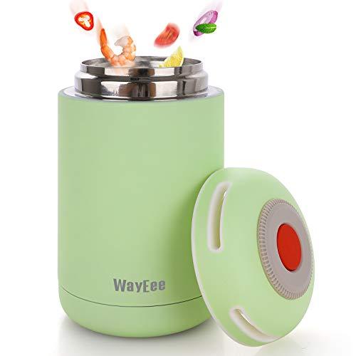 Thermobehälter 460ml Edelstahl Warmhaltebox Speisebehälter BPA freier Isolierbehälter Thermo Gefäß für Babynahrung Speisegefäß für Kinder Erwachsene Brotdose Schule Camping im Freien (Grün)