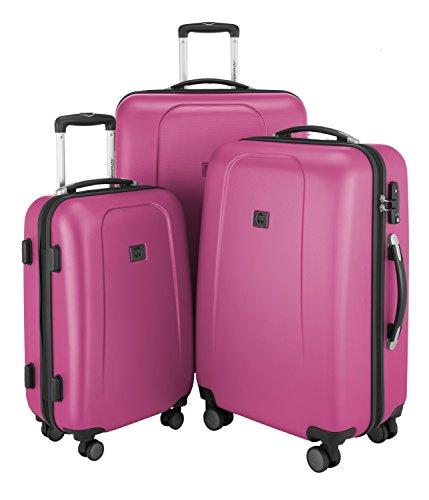 HAUPTSTADTKOFFER - Wedding - 3er Koffer-Set Trolley-Set Rollkoffer Reisekoffer, TSA, Doppelrollen, (S, M & L), Magenta