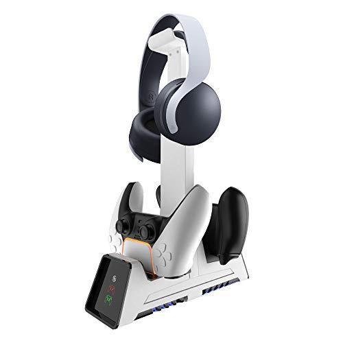 PS5コントローラー用充電器 ヘッドホンスタンド付き PS5用充電スタンド マグネット式先進の充電技術を採用 置くだけで充電できます 2台同時充電 充電と収納用充電ステーション+ヘッドホンスタンドセット PS5/PS4/Switch Pro/Xbox Series X/One/S/X/Eliteコントローラー対応