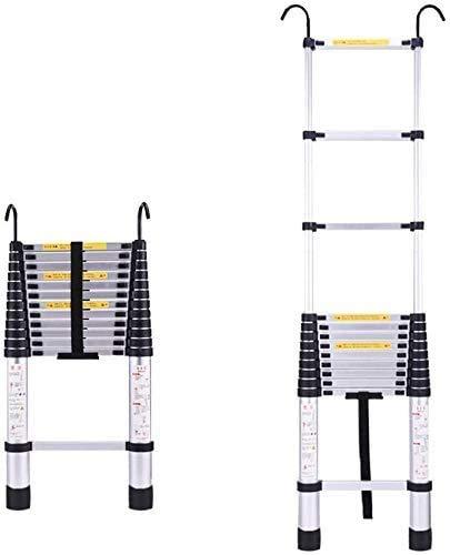 Escaleras telescópicas escalera escamoteable Escaleras Telescópicas 2.1m Escalera Recta Telescópica Con Ganchos | Ladera De Extensión Telescópica De Aluminio Multiuso MAX CARGA 150kg / 330lb Escaleras