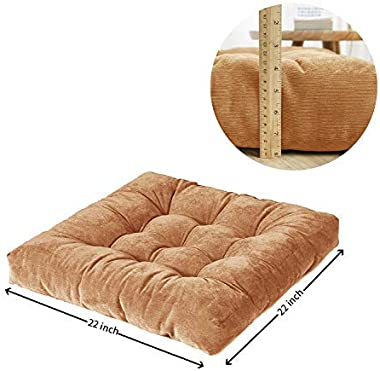 Meditation Floor Cushion, Floor Pillows Seating for Adults Floor Cushions for Adults & Kids, 22x22 Inch (Brown)