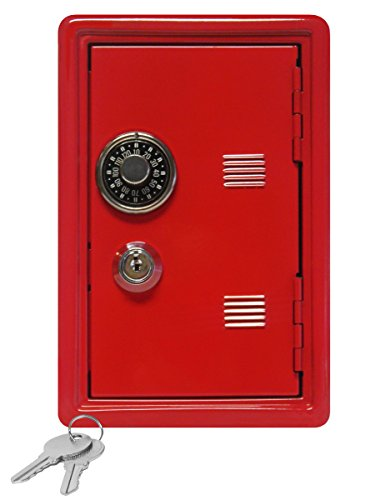 "Kid's Coin Bank Locker Safe with Single Digit Combination Lock and Key - 7"" High x 4"" x 3.9"" Red"