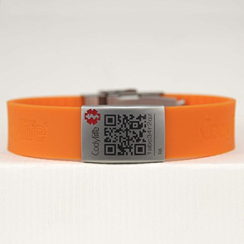 Pulsera identificativa, Codylife Flex naranja, Brazalete de silicona y cierre de metal dotado con código QR