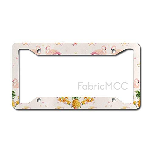 Dom576son License Plate Frame Flamingo Geometrical Pineapples And Flamingos Tropical Summer Fruit Pool Party, Pale Pink Metal Tag Border US Size 12 x 6 Inches Auto License Plate Holder