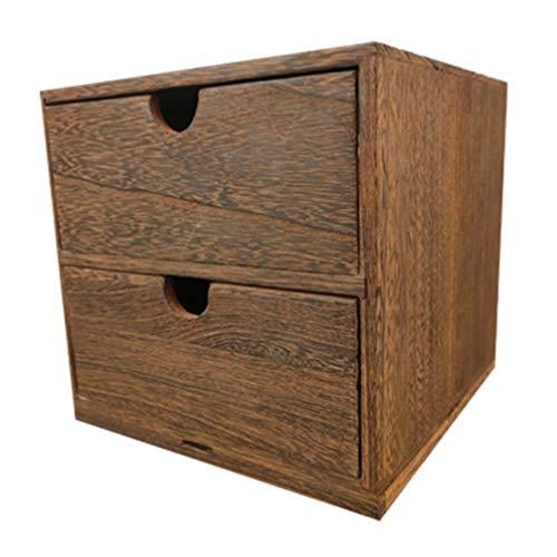 Garneck Caja Organizadora de Cajones de Madera Caja de Almacenamiento de Gabinete de Cajones Apilables Caja Organizadora de Joyas de Oficina en Casa (Marrón)