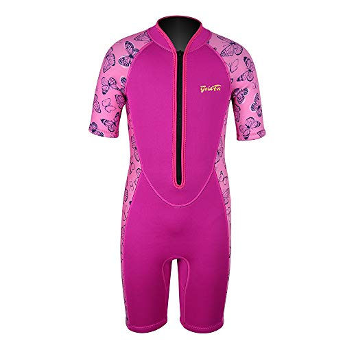 Girls Wetsuit Kids Shorty Wetsuits Toddler Thermal Swimsuit 2mm Neoprene Front Zip Keep Warm for Boys Girls Toddler Youth Swimming,Diving,Surfing (Pink, 4)