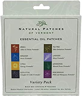 Natural Patches Of Vermont Essential Oil Body Patches, Aromatherapy Variety Pack, 8 Patches