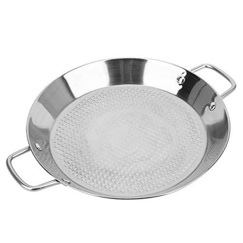 Poêle plate en acier inoxydable, marmite en acier inoxydable avec relief intérieur, plateau de marais, ustensiles de cuisine, ustensiles de cuisine avec double poignée.