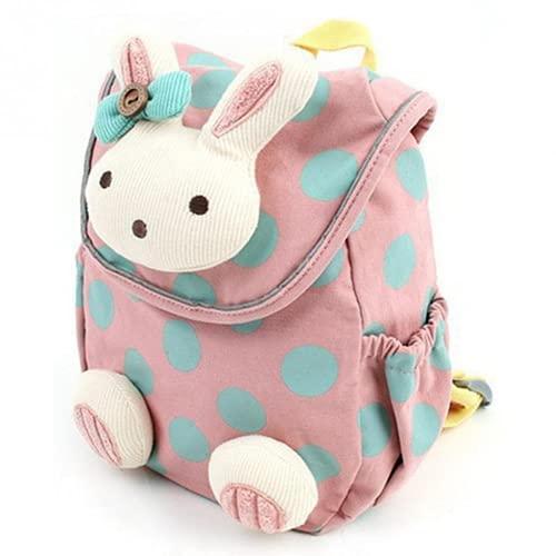Kindergarten niños y niñas regalo mochila escolar conejo anti-vagabundo mochila para niños pequeños regalo para niños mini mochila escolar con espalda suave (Pink,in)